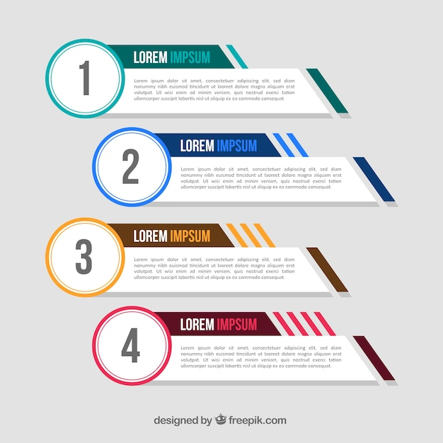 Pack of four infographic banners with color elements Free Vector
