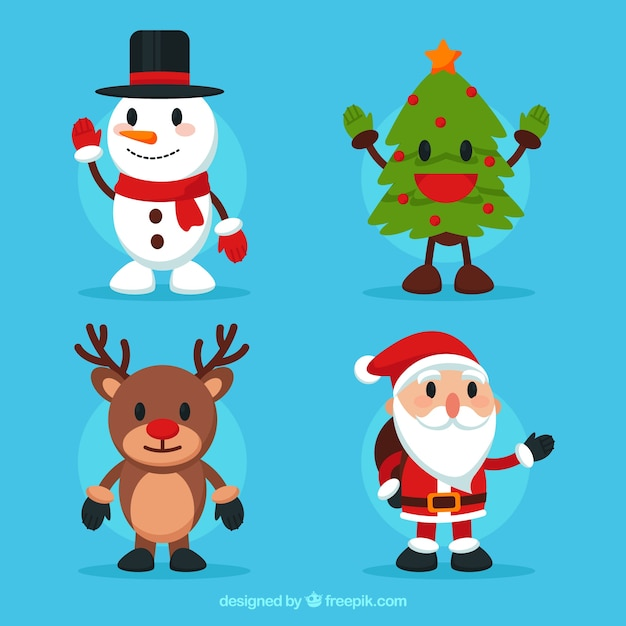 Pack of four lovely christmas characters Free Vector