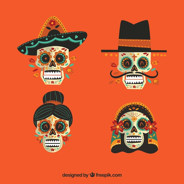 Pack of four mexican skulls Free Vector