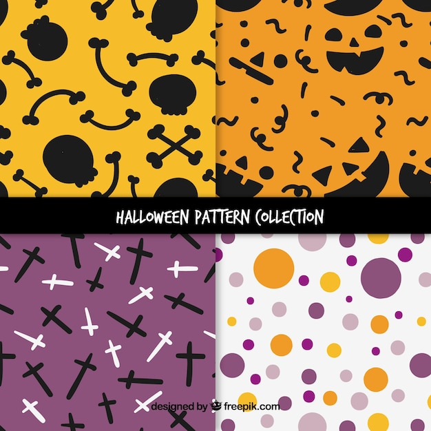 Pack of four patterns with halloween elements and circles Free Vector