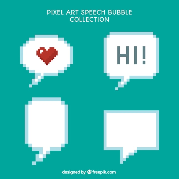 Pack Of Four Pixelated Speech Bubbles