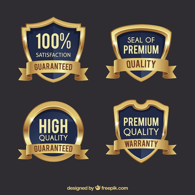 Pack of four premium golden shields Free Vector