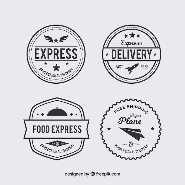 Pack of four vintage delivery stickers Free Vector
