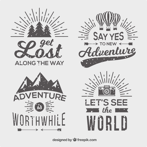 Pack of four vintage style adventure badges Free Vector
