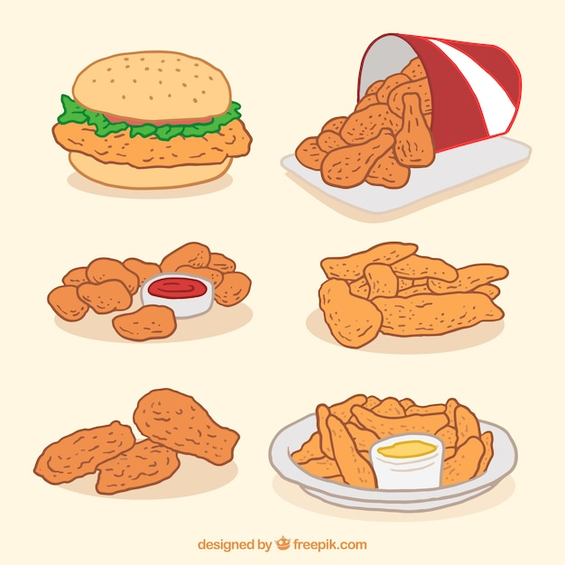 Confezione di pollo fritto e hamburger Vettore gratuito