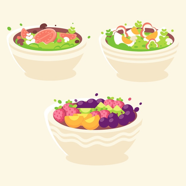 Pack of fruit and salad bowls Free Vector