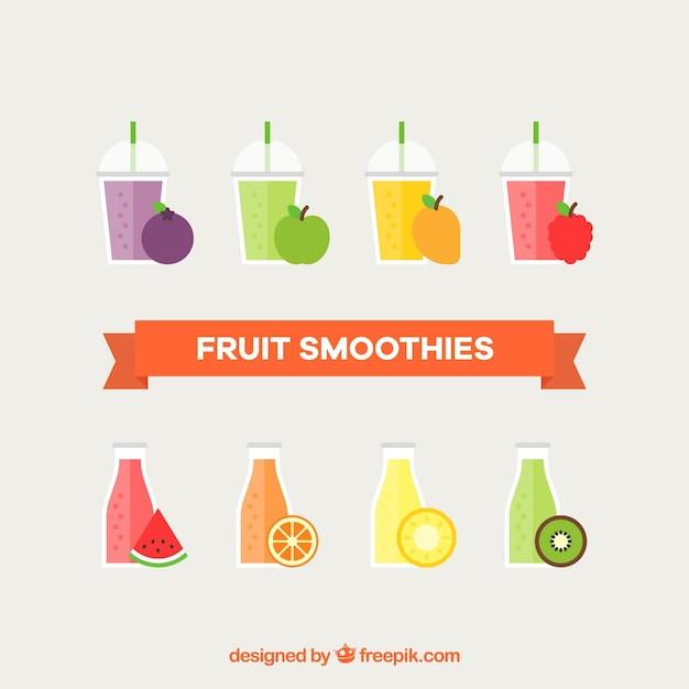 Pack of fruit smoothies Free Vector
