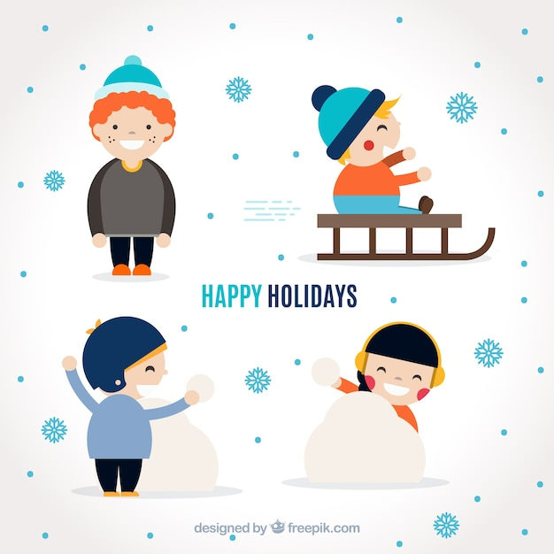 Pack of funny children playing with snow Free Vector