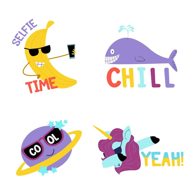 Pack of funny stickers hand drawn Free Vector