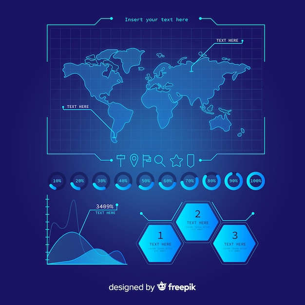 Pack of futuristic infographic element Free Vector