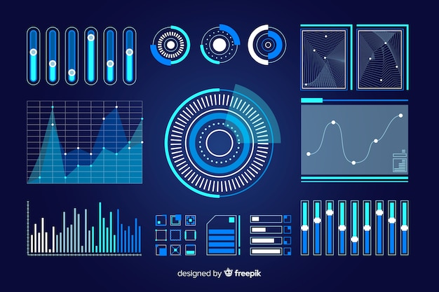 Pack of futuristic infographic elements Free Vector
