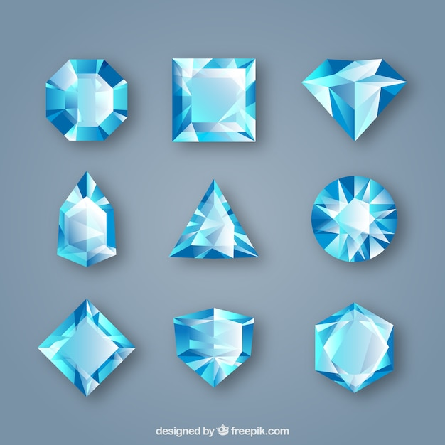Pack of gems in blue tones Free Vector