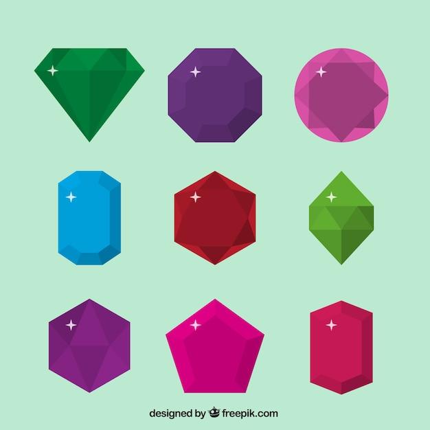 Confezione di gemme in design piatto Vettore gratuito