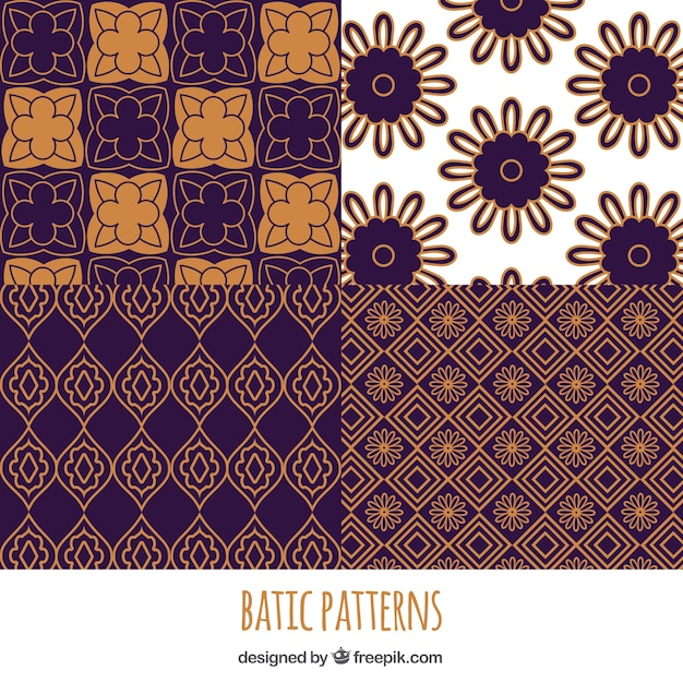 Pack Of Geometric Batik Flower Patterns