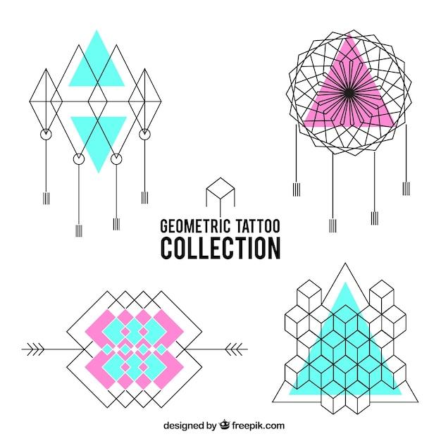 Confezione di tatuaggi geometrici Vettore gratuito