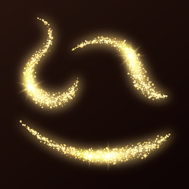 Pack of glitter waves Free Vector