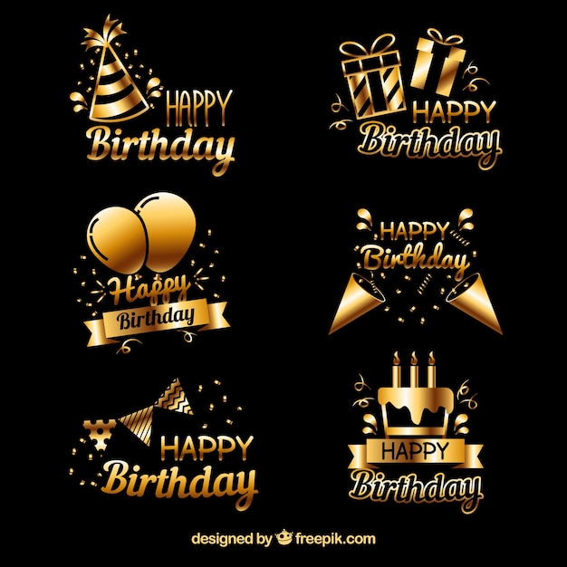 Pack of golden birthday stickers Free Vector