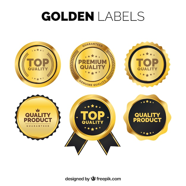 Pack of golden premium stickers in vintage style Vector