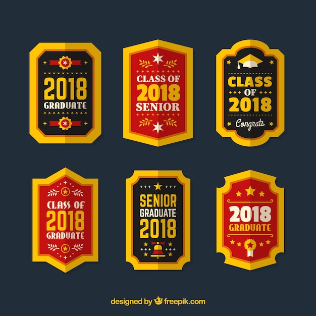 Pack graduation label collection with flat design  Free Vector