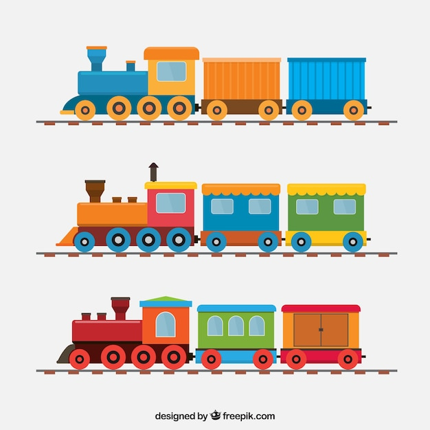 Pack of great trains in flat design Free Vector