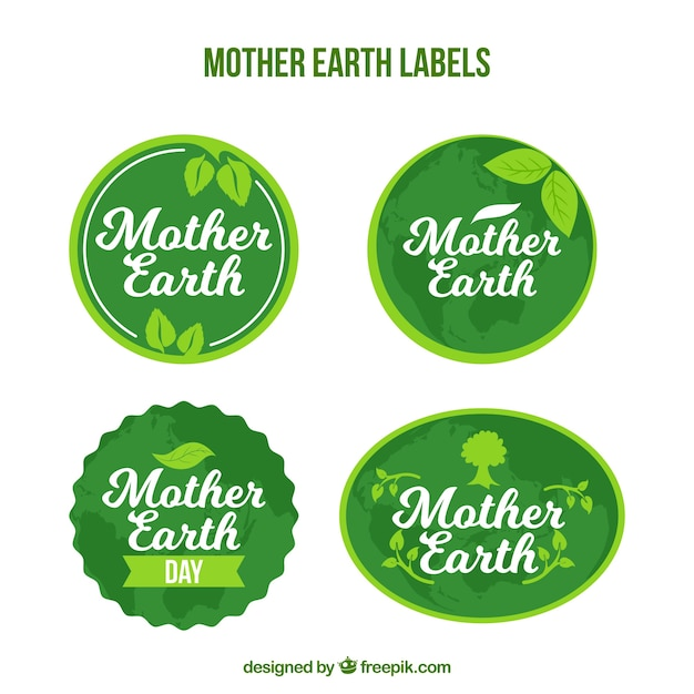 Pack of green earth day stickers Free Vector
