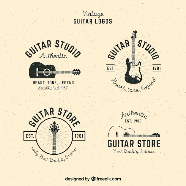 Pack of guitar logos in vintage style Free Vector