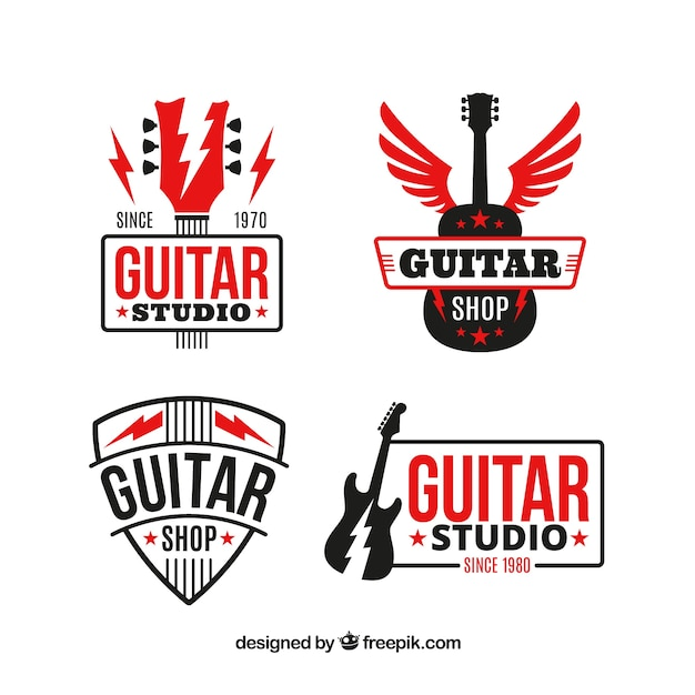 Pack of guitar logos with red elements Free Vector