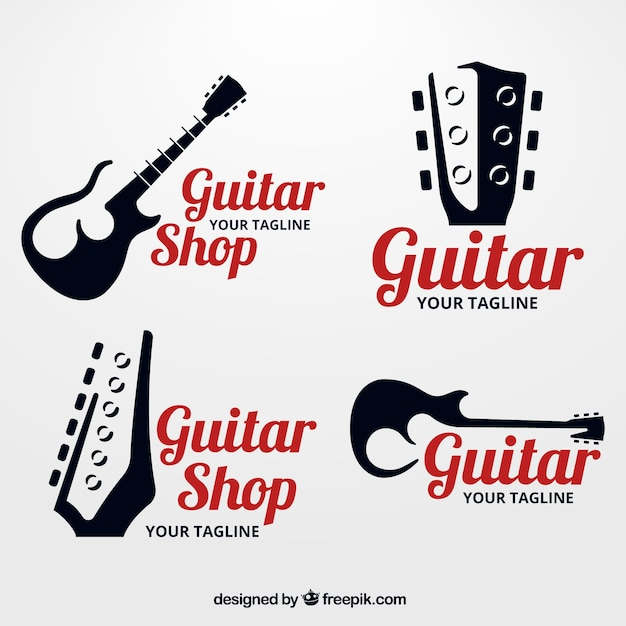 Pack of guitar logos with silhouettes Free Vector