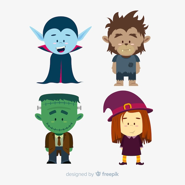 Pack of halloween characters flat design Free Vector