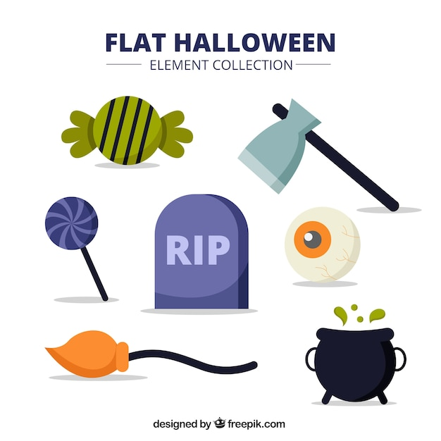 Pack of halloween items in style flat Free Vector