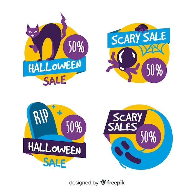 Pack of halloween sales labels Free Vector