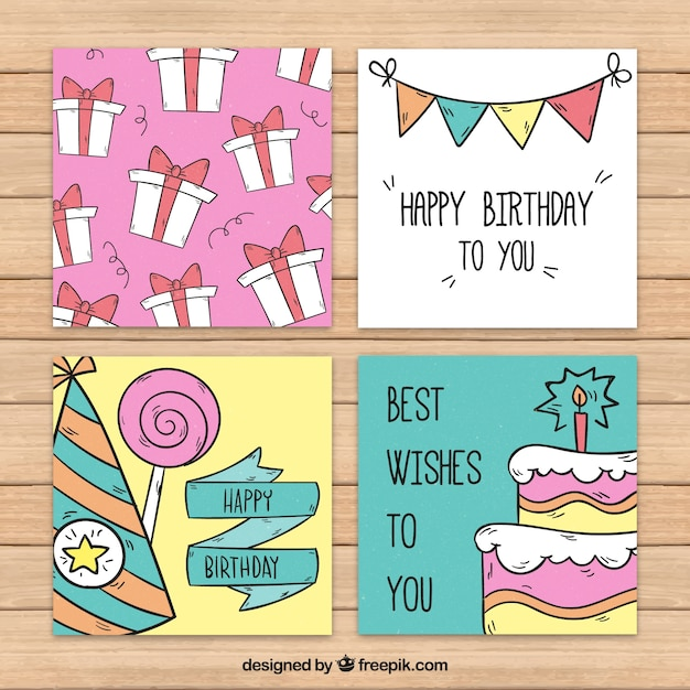 Pack of hand drawn birthday cards Free Vector
