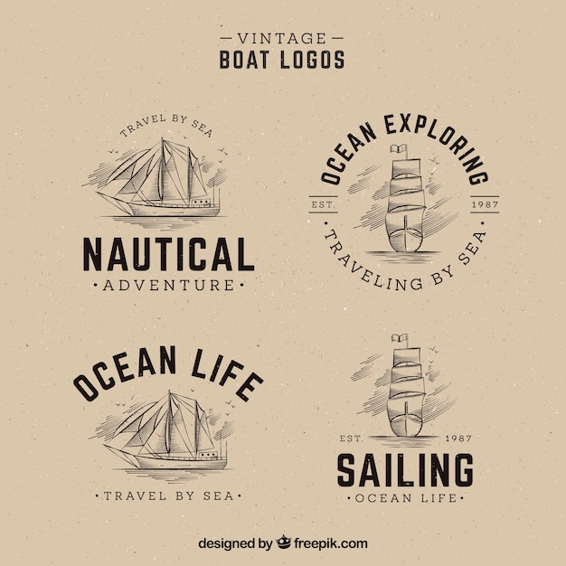 Pack of hand drawn boat logos in vintage Vector | Free Download