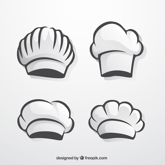 Pack of hand-drawn chef hats Premium Vector