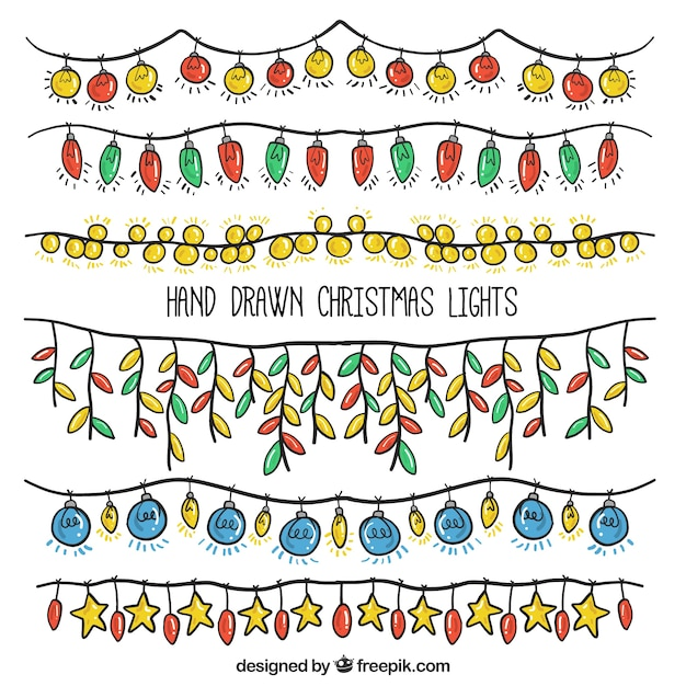 Pack of hand drawn christmas lights Free Vector