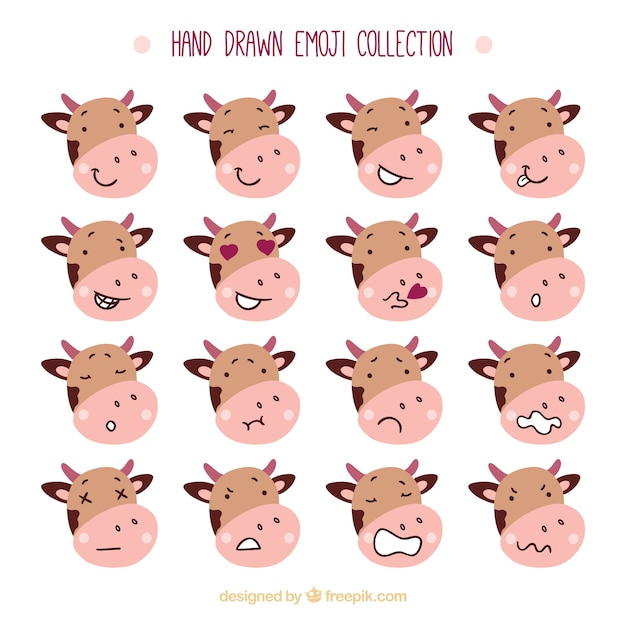 Pack of hand-drawn cow emoticons Premium Vector