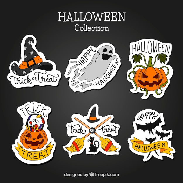 Pack of hand-drawn halloween stickers Free Vector