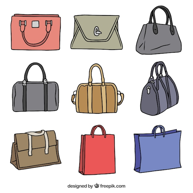 Pack of hand-drawn handbags with different colors Free Vector