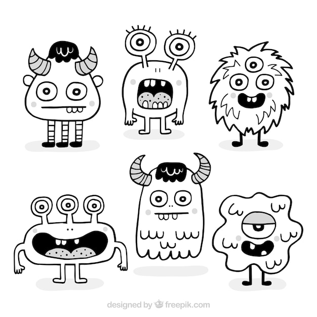 Pack of hand drawn monsters Free Vector