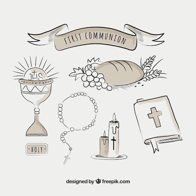 Confezione di oggetti religiosi disegnati a mano Vettore gratuito