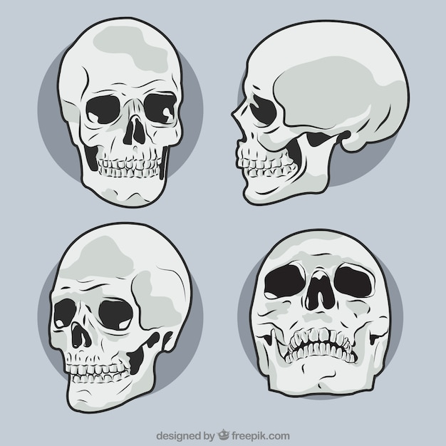 Pack of hand drawn skulls Free Vector