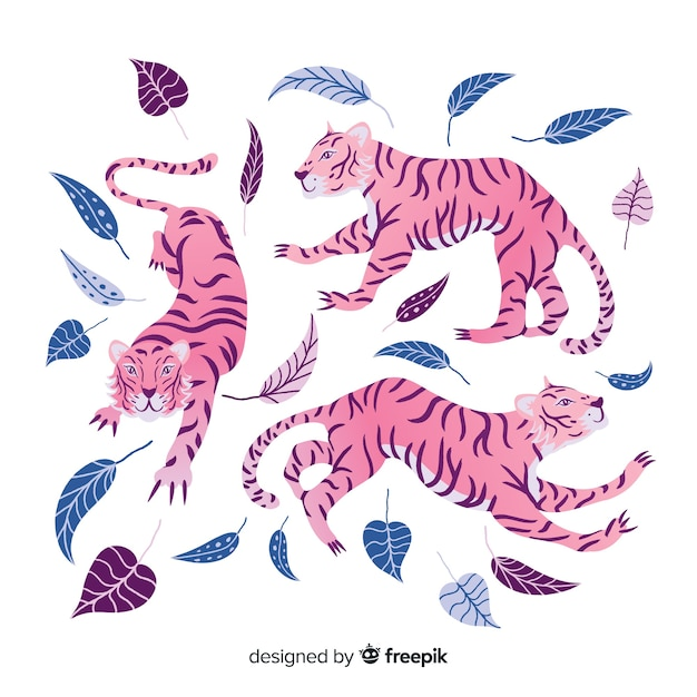 Pack of hand drawn tigers Free Vector