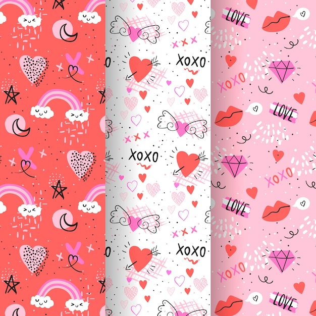 Pack of hand drawn valentine's day pattern Free Vector