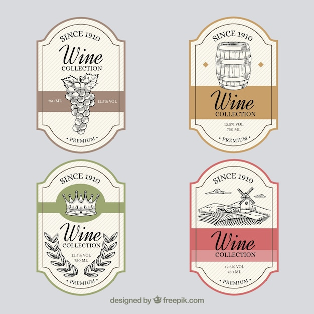 Pack of hand drawn vintage wine labels Free Vector