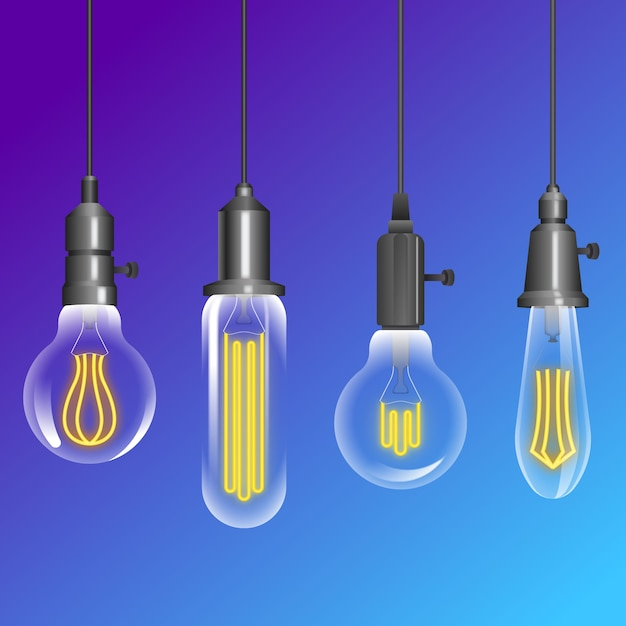 Pack of hanging light bulbs Free Vector