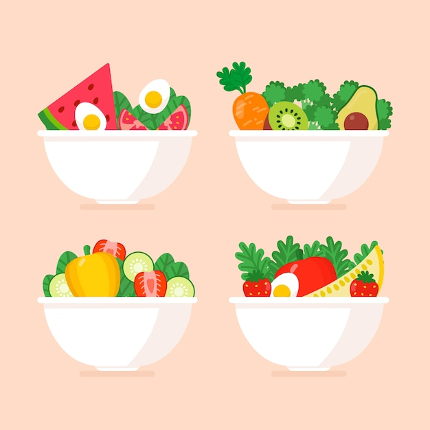 Pack of healthy fruits and salads bowls Free Vector