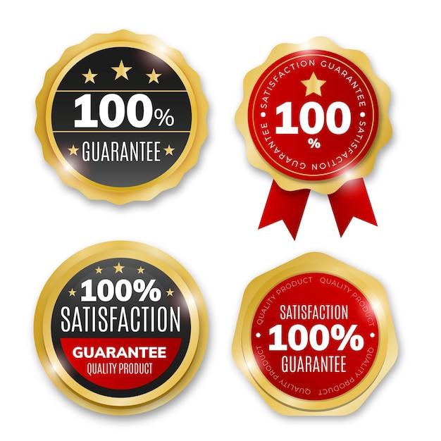 Pack of hundred percent guarantee labels Premium Vector