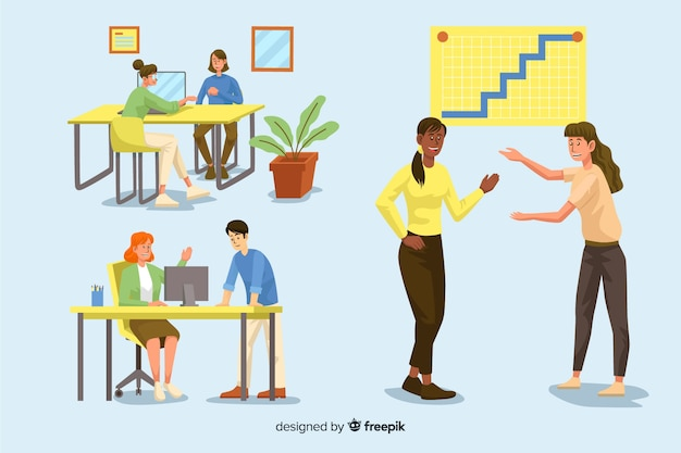 Pack of illustrated people working at their desks Free Vector