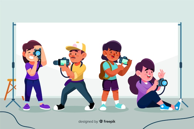 Pack of illustrated photographers taking different shots Free Vector