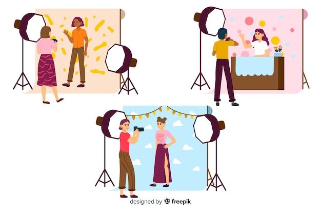 Pack of illustrated photographers taking shots with different models Free Vector